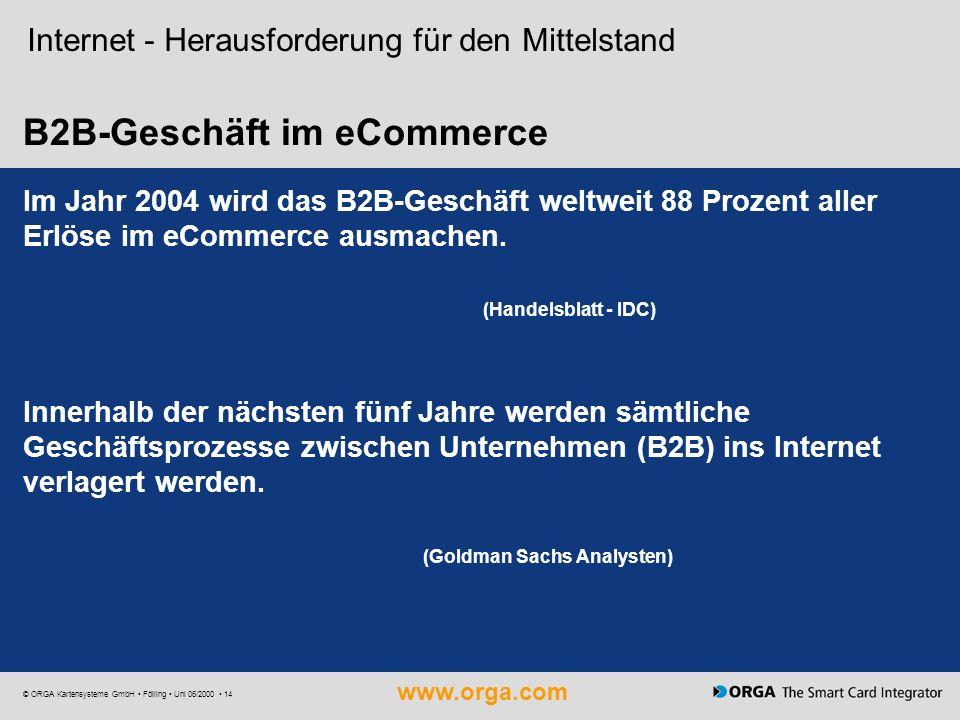 www.orga.com © ORGA Kartensysteme GmbH Fölling Uni 06/2000 14 B2B-Geschäft im eCommerce Internet - Herausforderung für den Mittelstand Im Jahr 2004 wi