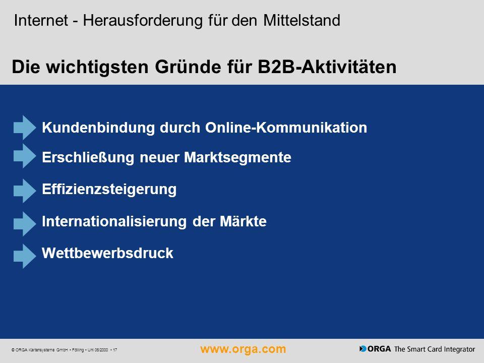 www.orga.com © ORGA Kartensysteme GmbH Fölling Uni 06/2000 17 Die wichtigsten Gründe für B2B-Aktivitäten Internet - Herausforderung für den Mittelstan