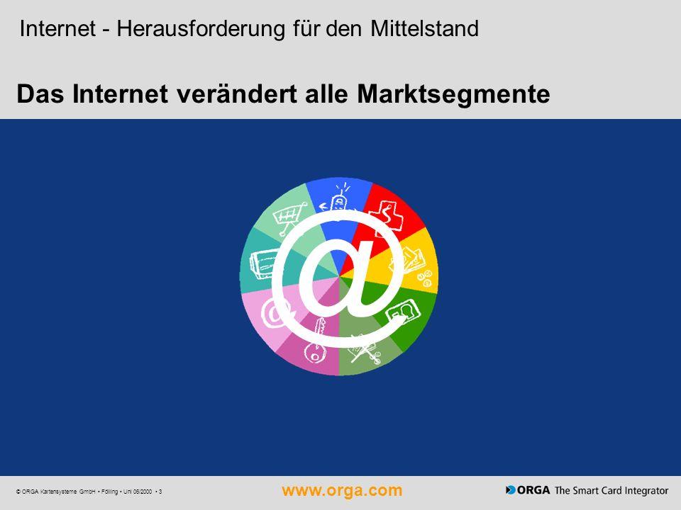 www.orga.com © ORGA Kartensysteme GmbH Fölling Uni 06/2000 3 Das Internet verändert alle Marktsegmente @ Internet - Herausforderung für den Mittelstan