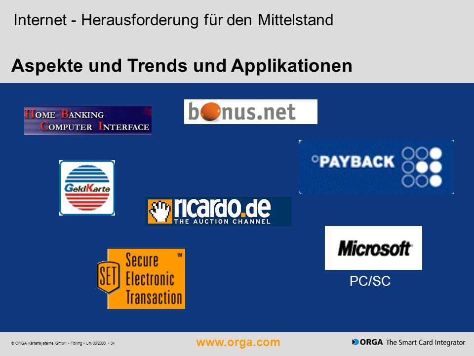 www.orga.com © ORGA Kartensysteme GmbH Fölling Uni 06/2000 34 Aspekte und Trends und Applikationen PC/SC Internet - Herausforderung für den Mittelstan