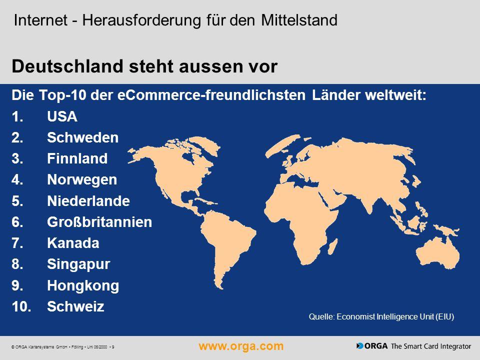www.orga.com © ORGA Kartensysteme GmbH Fölling Uni 06/2000 9 Deutschland steht aussen vor Internet - Herausforderung für den Mittelstand Die Top-10 de