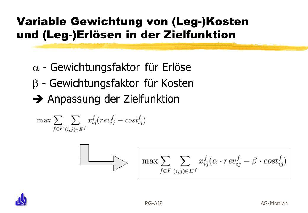 PG-AIRAG-Monien Variable Gewichtung von (Leg-)Kosten und (Leg-)Erlösen in der Zielfunktion - Gewichtungsfaktor für Erlöse - Gewichtungsfaktor für Kost
