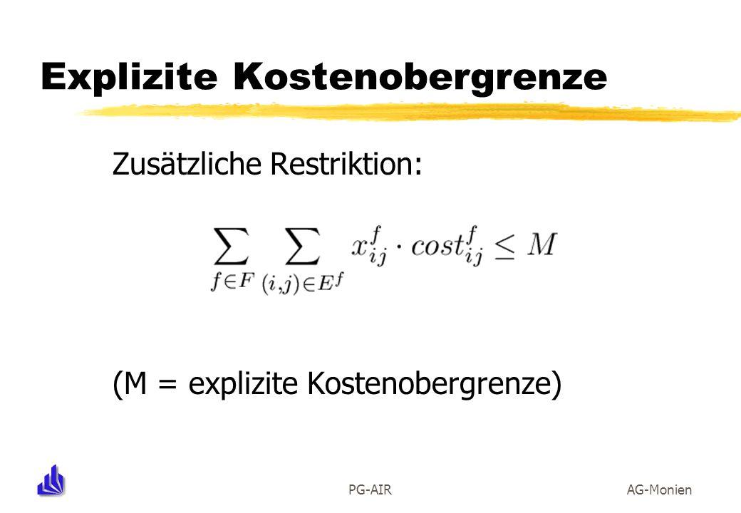 PG-AIRAG-Monien Explizite Kostenobergrenze Zusätzliche Restriktion: (M = explizite Kostenobergrenze)