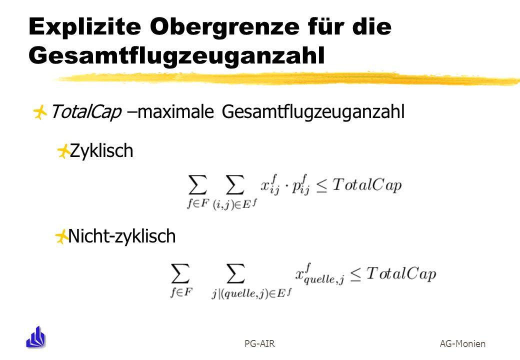 PG-AIRAG-Monien Explizite Obergrenze für die Gesamtflugzeuganzahl TotalCap –maximale Gesamtflugzeuganzahl Zyklisch Nicht-zyklisch