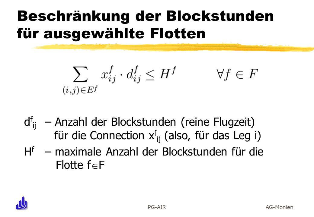 PG-AIRAG-Monien Beschränkung der Blockstunden für ausgewählte Flotten d f ij – Anzahl der Blockstunden (reine Flugzeit) für die Connection x f ij (als