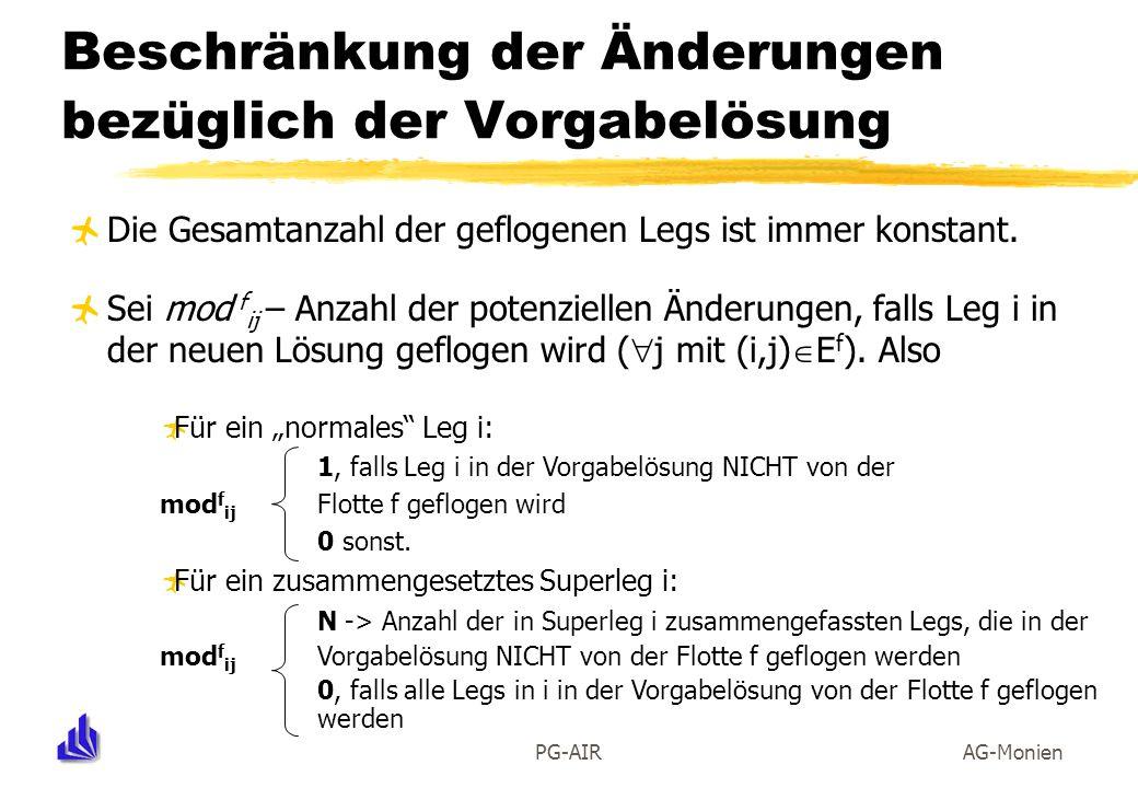 PG-AIRAG-Monien Beschränkung der Änderungen bezüglich der Vorgabelösung Die Gesamtanzahl der geflogenen Legs ist immer konstant. Sei mod f ij – Anzahl