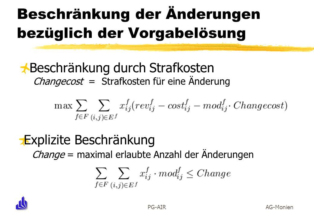 PG-AIRAG-Monien Beschränkung durch Strafkosten Changecost = Strafkosten für eine Änderung Beschränkung der Änderungen bezüglich der Vorgabelösung Expl