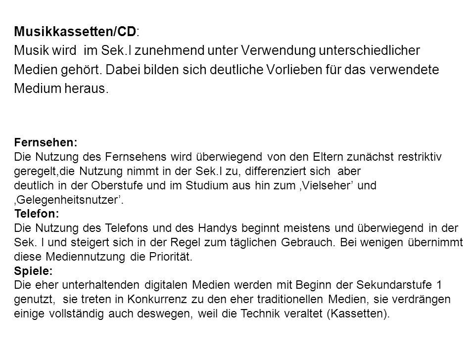 Musikkassetten/CD: Musik wird im Sek.I zunehmend unter Verwendung unterschiedlicher Medien gehört.