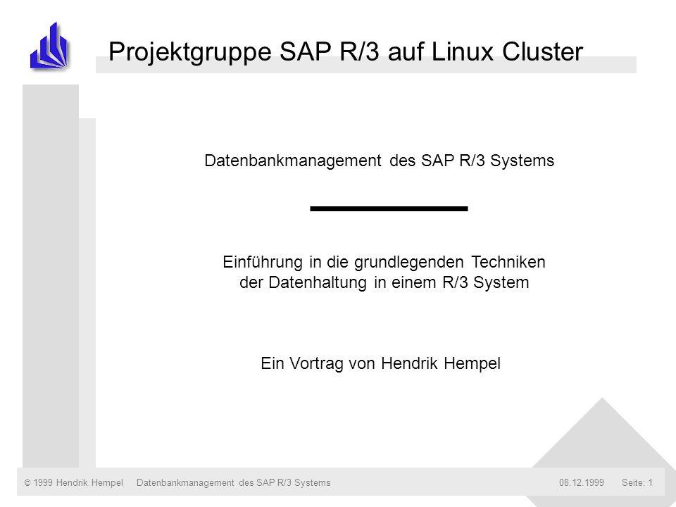 © 1999 Hendrik Hempel08.12.1999Datenbankmanagement des SAP R/3 SystemsSeite: 1 Datenbankmanagement des SAP R/3 Systems Einführung in die grundlegenden