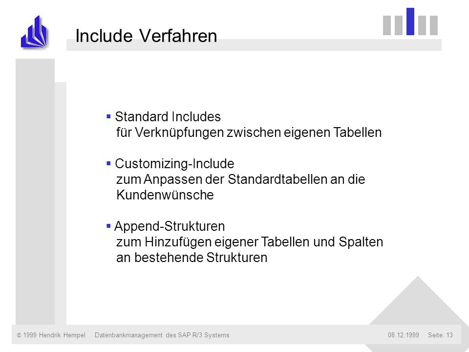 © 1999 Hendrik Hempel08.12.1999Datenbankmanagement des SAP R/3 SystemsSeite: 13 Include Verfahren Standard Includes für Verknüpfungen zwischen eigenen