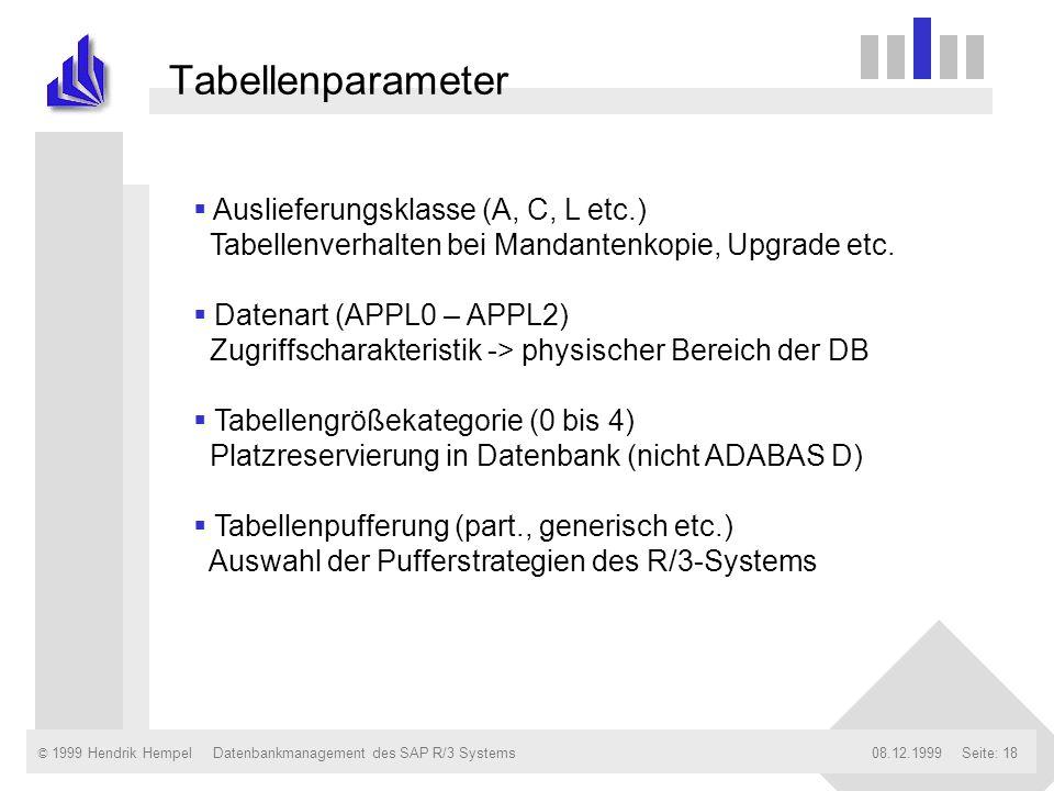 © 1999 Hendrik Hempel08.12.1999Datenbankmanagement des SAP R/3 SystemsSeite: 18 Tabellenparameter Auslieferungsklasse (A, C, L etc.) Tabellenverhalten
