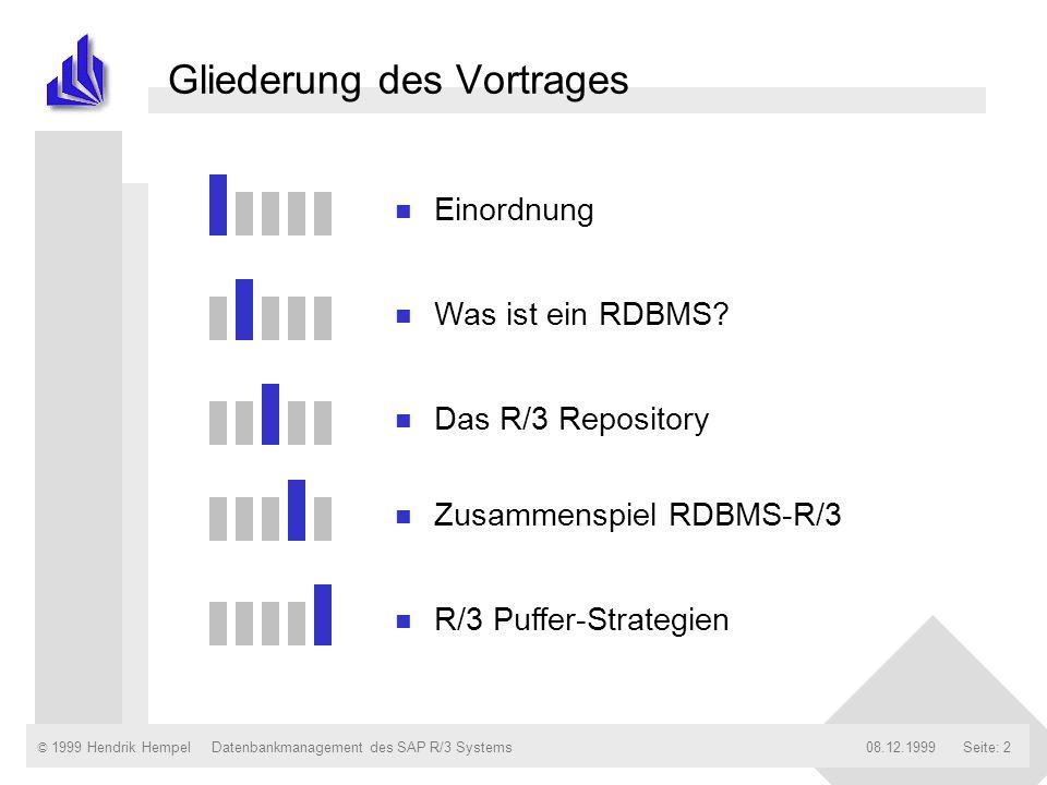 © 1999 Hendrik Hempel08.12.1999Datenbankmanagement des SAP R/3 SystemsSeite: 2 Gliederung des Vortrages n Einordnung n Was ist ein RDBMS? n Das R/3 Re