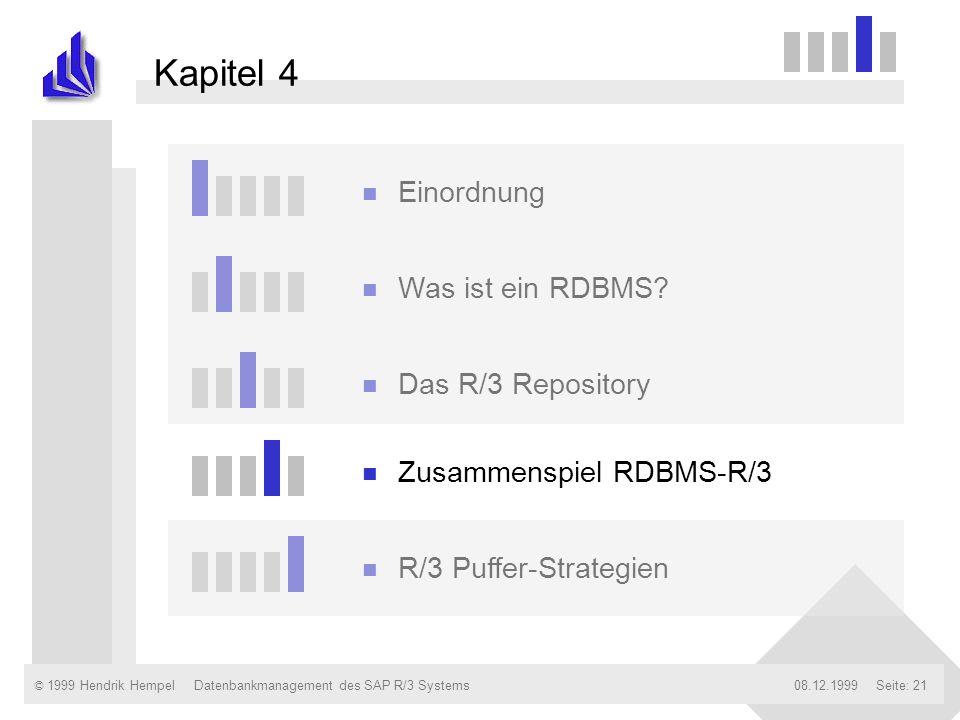 © 1999 Hendrik Hempel08.12.1999Datenbankmanagement des SAP R/3 SystemsSeite: 21 Kapitel 4 n Einordnung n Was ist ein RDBMS? n Das R/3 Repository n Zus