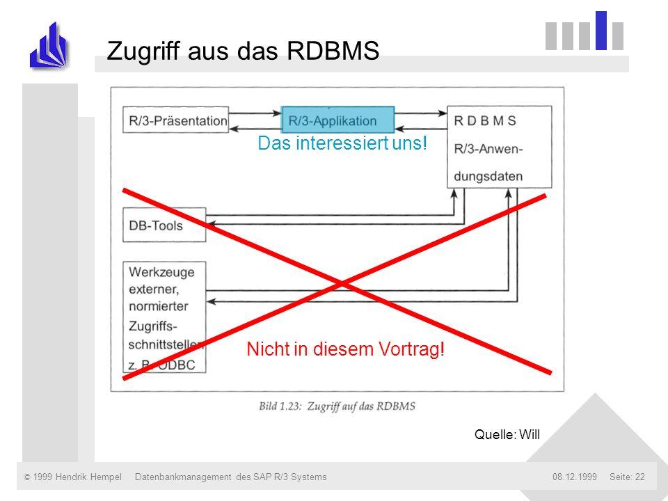 © 1999 Hendrik Hempel08.12.1999Datenbankmanagement des SAP R/3 SystemsSeite: 22 Quelle: Will Nicht in diesem Vortrag! Das interessiert uns! Zugriff au