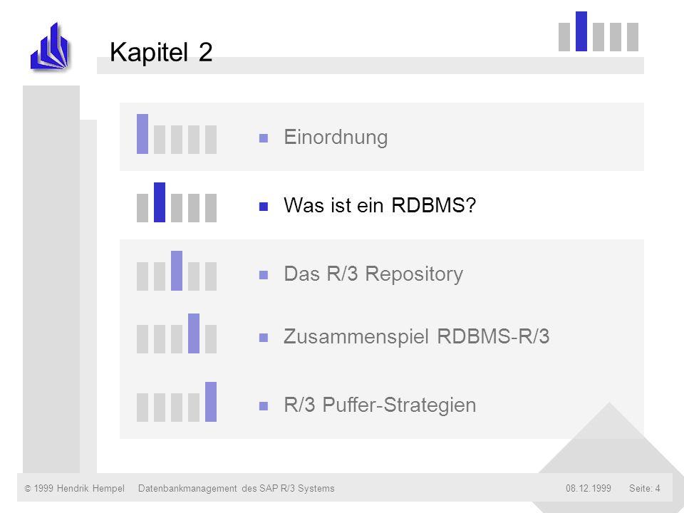 © 1999 Hendrik Hempel08.12.1999Datenbankmanagement des SAP R/3 SystemsSeite: 5 Begriffserläuterung R elationales D aten- B ank M anagement S ystem Wofür stehen die Buchstaben RDBMS?