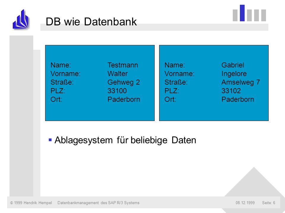 © 1999 Hendrik Hempel08.12.1999Datenbankmanagement des SAP R/3 SystemsSeite: 6 DB wie Datenbank Name:Testmann Vorname:Walter Straße:Gehweg 2 PLZ:33100