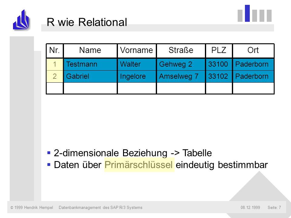 © 1999 Hendrik Hempel08.12.1999Datenbankmanagement des SAP R/3 SystemsSeite: 18 Tabellenparameter Auslieferungsklasse (A, C, L etc.) Tabellenverhalten bei Mandantenkopie, Upgrade etc.