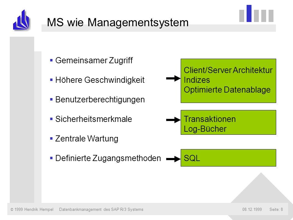 © 1999 Hendrik Hempel08.12.1999Datenbankmanagement des SAP R/3 SystemsSeite: 8 MS wie Managementsystem Gemeinsamer Zugriff Höhere Geschwindigkeit Benu