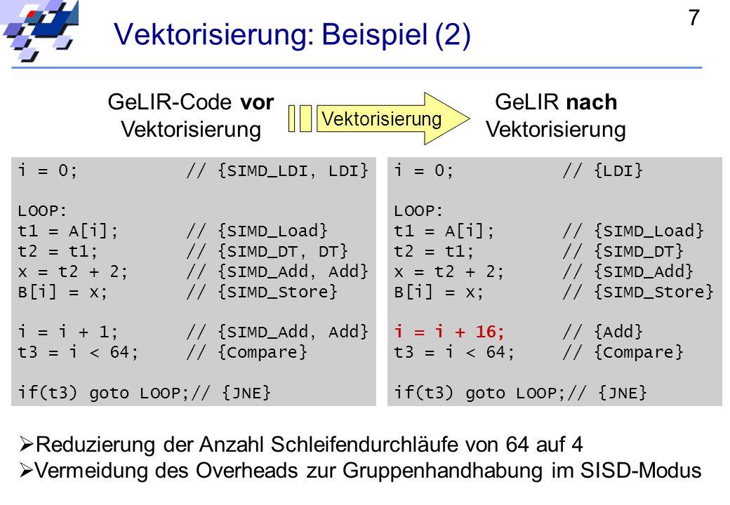 7 Vektorisierung: Beispiel (2) i = 0; // {SIMD_LDI, LDI} LOOP: t1 = A[i];// {SIMD_Load} t2 = t1;// {SIMD_DT, DT} x = t2 + 2;// {SIMD_Add, Add} B[i] = x;// {SIMD_Store} i = i + 1;// {SIMD_Add, Add} t3 = i < 64;// {Compare} if(t3) goto LOOP;// {JNE} GeLIR-Code vor Vektorisierung i = 0; // {LDI} LOOP: t1 = A[i];// {SIMD_Load} t2 = t1;// {SIMD_DT} x = t2 + 2;// {SIMD_Add} B[i] = x;// {SIMD_Store} i = i + 16;// {Add} t3 = i < 64;// {Compare} if(t3) goto LOOP;// {JNE} GeLIR nach Vektorisierung Reduzierung der Anzahl Schleifendurchläufe von 64 auf 4 Vermeidung des Overheads zur Gruppenhandhabung im SISD-Modus