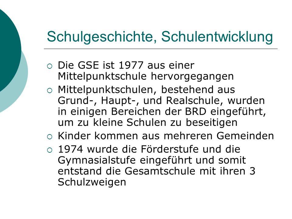 Schulgeschichte, Schulentwicklung Die GSE ist 1977 aus einer Mittelpunktschule hervorgegangen Mittelpunktschulen, bestehend aus Grund-, Haupt-, und Re