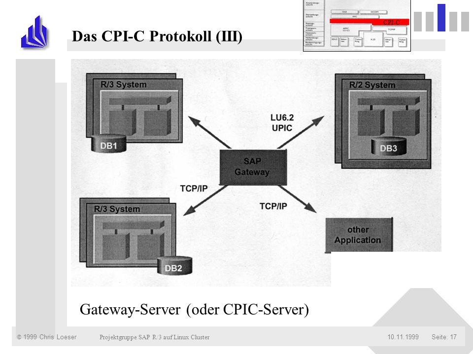 © 1999 Chris Loeser Projektgruppe SAP R/3 auf Linux Cluster Seite: 1710.11.1999 Das CPI-C Protokoll (III) Gateway-Server (oder CPIC-Server) CPI-C