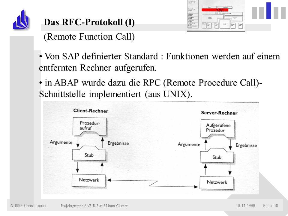 © 1999 Chris Loeser Projektgruppe SAP R/3 auf Linux Cluster Seite: 1810.11.1999 Von SAP definierter Standard : Funktionen werden auf einem entfernten