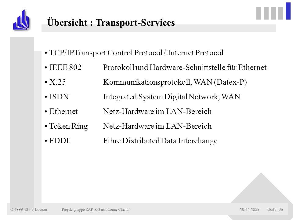 © 1999 Chris Loeser Projektgruppe SAP R/3 auf Linux Cluster Seite: 3610.11.1999 Übersicht : Transport-Services TCP/IPTransport Control Protocol / Inte
