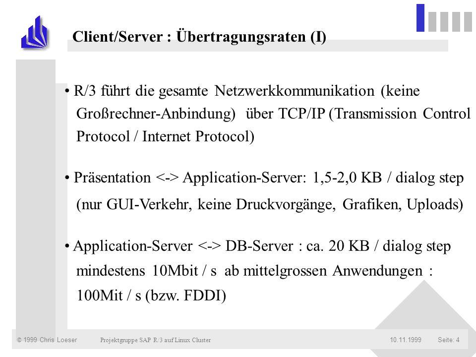 © 1999 Chris Loeser Projektgruppe SAP R/3 auf Linux Cluster Seite: 3510.11.1999 Client/Server-Architektur TCP/IP-Protokoll Höhere Protokolle / Schnittstellen Datenaustausch / Verteilungsstrategie Übersicht Übersicht : Netzwerkprotokolle