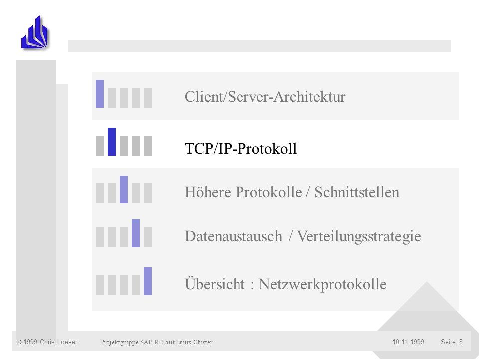 © 1999 Chris Loeser Projektgruppe SAP R/3 auf Linux Cluster Seite: 2910.11.1999 Application Link Enabling (ALE) Datenbank von R/3 ist (bisher) immer eine Zentralsystem Dies bietet Nachteile wenn : Organisationseinheiten räumlich getrennt sind Unternehmen-übergreifende Prozesse vorhanden sind die Leistungsfähigkeit stößt an ihre Grenzen Lösung ist ALE : Verteilung von betriebswirtschaftliche Funktionen und Anwendungen auf lose R/3-Sysmteme Vorbereitete Szenarien Kopplung von R/2, R/3 und anderen Systemen
