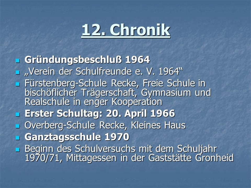 12. Chronik Gründungsbeschluß 1964 Gründungsbeschluß 1964 Verein der Schulfreunde e. V. 1964 Verein der Schulfreunde e. V. 1964 Fürstenberg-Schule Rec