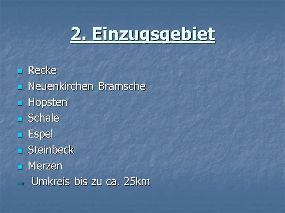 2. Einzugsgebiet Recke Recke Neuenkirchen Bramsche Neuenkirchen Bramsche Hopsten Hopsten Schale Schale Espel Espel Steinbeck Steinbeck Merzen Merzen U