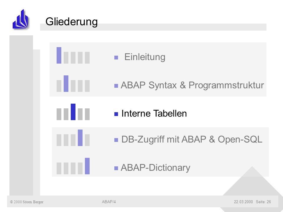 © 2000 Sören Berger ABAP/422.03.2000ABAP/4Seite: 26 Gliederung n Einleitung n ABAP Syntax & Programmstruktur n Interne Tabellen n DB-Zugriff mit ABAP