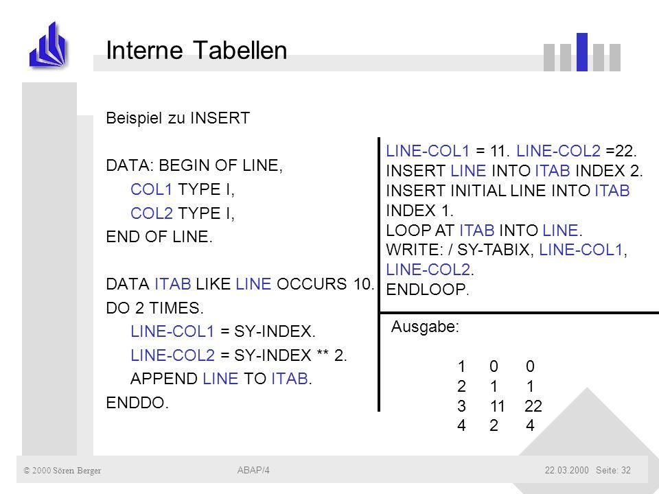 © 2000 Sören Berger ABAP/422.03.2000ABAP/4Seite: 32 Interne Tabellen Beispiel zu INSERT DATA: BEGIN OF LINE, COL1 TYPE I, COL2 TYPE I, END OF LINE. DA