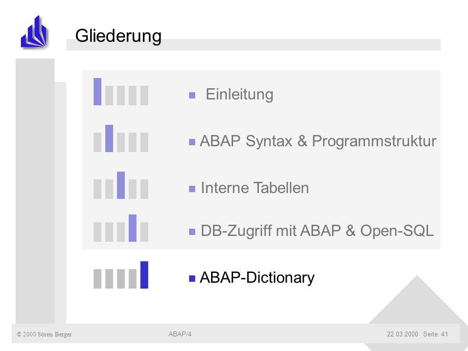© 2000 Sören Berger ABAP/422.03.2000ABAP/4Seite: 41 Gliederung n Einleitung n ABAP Syntax & Programmstruktur n Interne Tabellen n DB-Zugriff mit ABAP