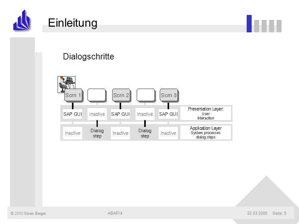 © 2000 Sören Berger ABAP/422.03.2000ABAP/4Seite: 6 Einleitung Struktur eines Workprozesses (WP): n Kontrolliert Flow Logic n über Dispatcher Kommunikation zw.