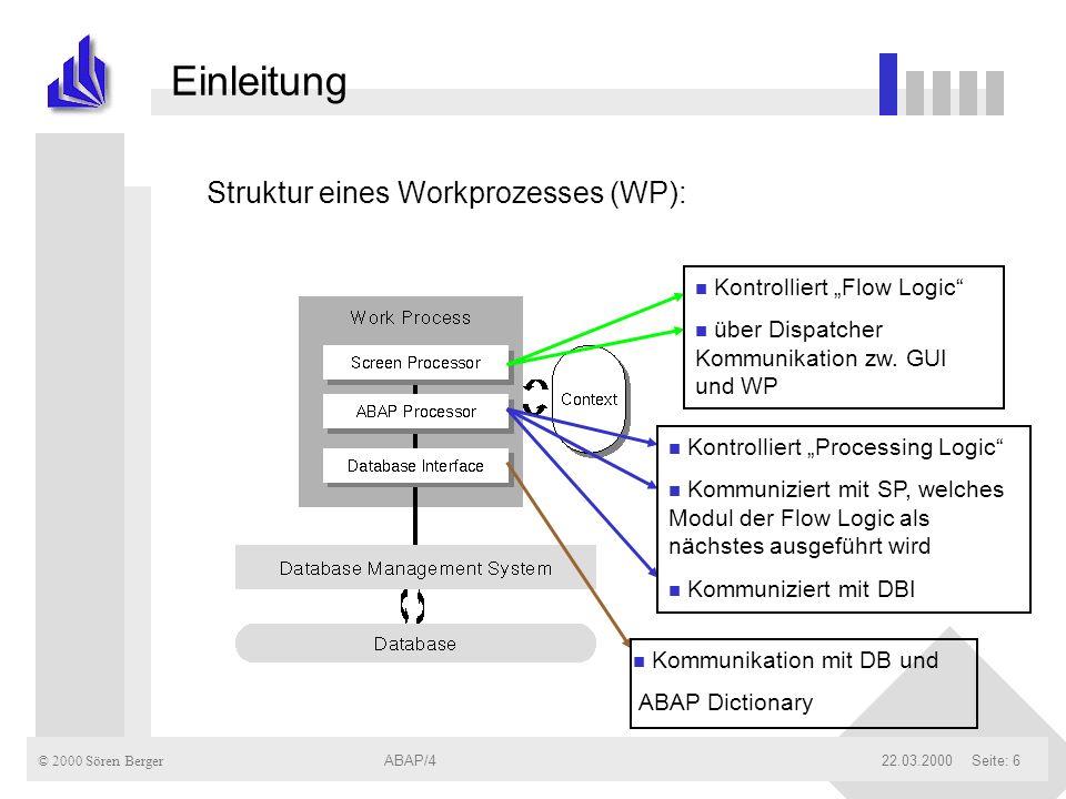 © 2000 Sören Berger ABAP/422.03.2000ABAP/4Seite: 6 Einleitung Struktur eines Workprozesses (WP): n Kontrolliert Flow Logic n über Dispatcher Kommunika