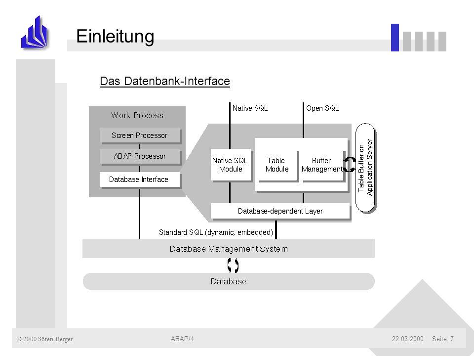 © 2000 Sören Berger ABAP/422.03.2000ABAP/4Seite: 38 DB-Zugriff mit ABAP und Open-SQL Allg.: Zugriff aller Operationen erfolgt wie bei einer normalen DB, müssen jedoch in einer Schleifenstruktur eingeschlossen werden.