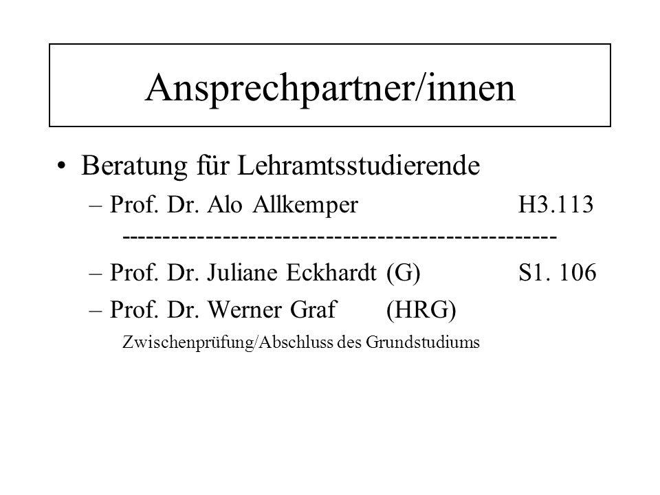 Ansprechpartner/innen Beratung für Lehramtsstudierende –Prof.