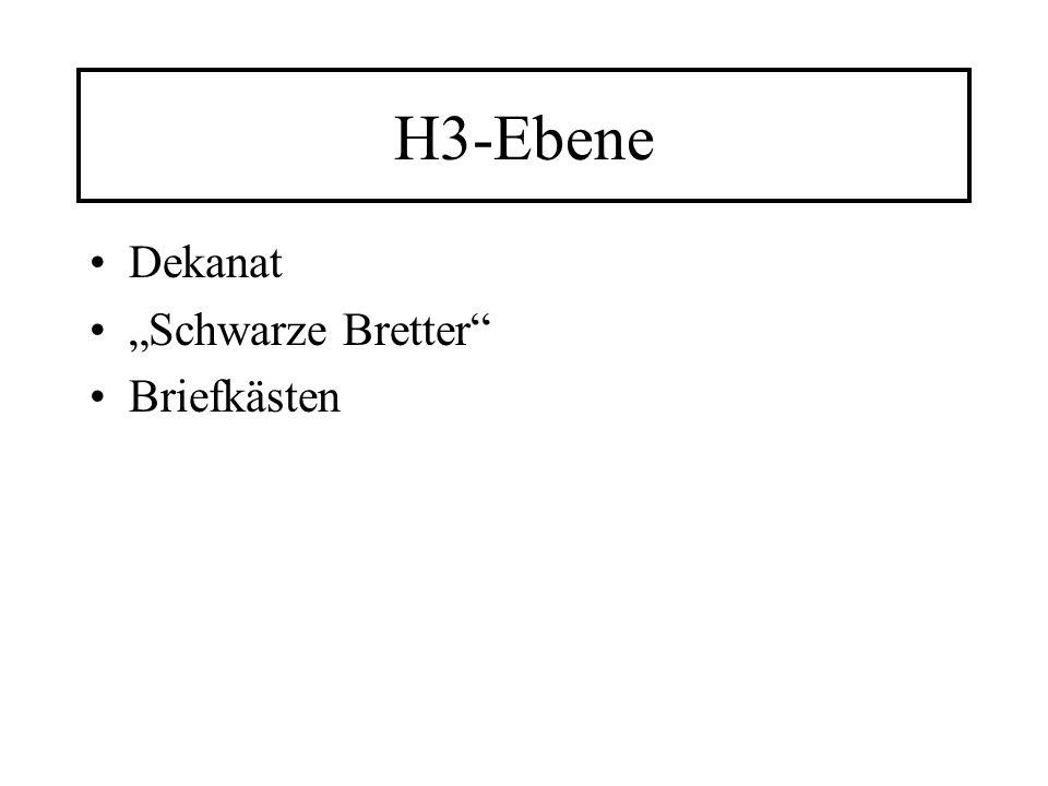 H3-Ebene Dekanat Schwarze Bretter Briefkästen