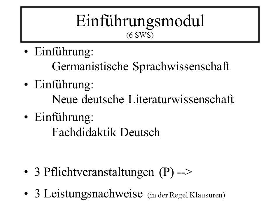 Einführungsmodul (6 SWS) Einführung: Germanistische Sprachwissenschaft Einführung: Neue deutsche Literaturwissenschaft Einführung: Fachdidaktik Deutsch 3 Pflichtveranstaltungen (P) --> 3 Leistungsnachweise (in der Regel Klausuren)