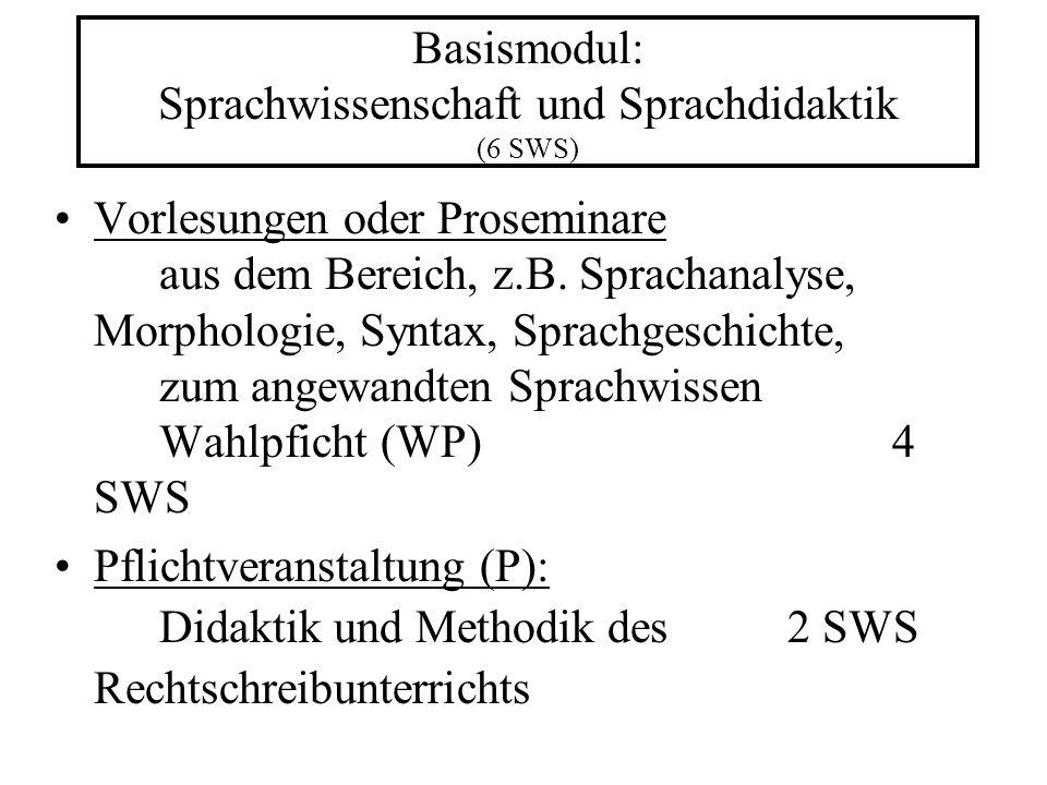 Basismodul: Sprachwissenschaft und Sprachdidaktik (6 SWS) Vorlesungen oder Proseminare aus dem Bereich, z.B.