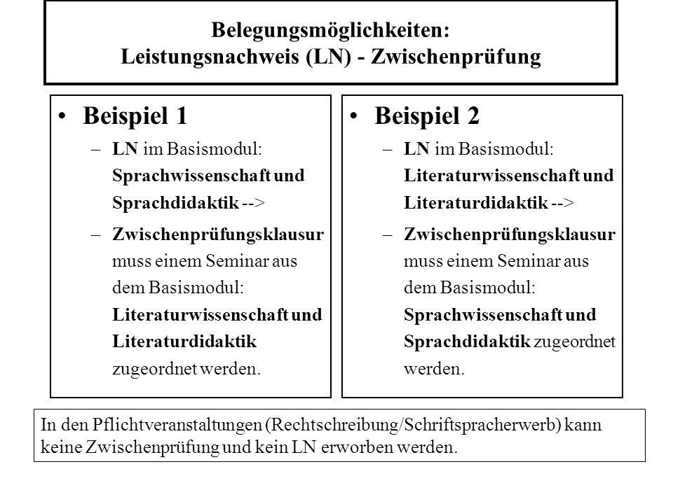 Belegungsmöglichkeiten: Leistungsnachweis (LN) - Zwischenprüfung Beispiel 1 –LN im Basismodul: Sprachwissenschaft und Sprachdidaktik --> –Zwischenprüfungsklausur muss einem Seminar aus dem Basismodul: Literaturwissenschaft und Literaturdidaktik zugeordnet werden.