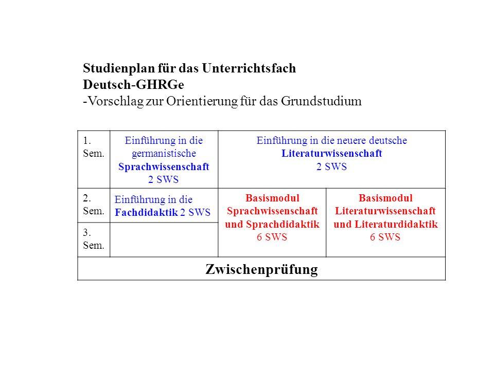 Studienplan für das Unterrichtsfach Deutsch-GHRGe -Vorschlag zur Orientierung für das Grundstudium 1.