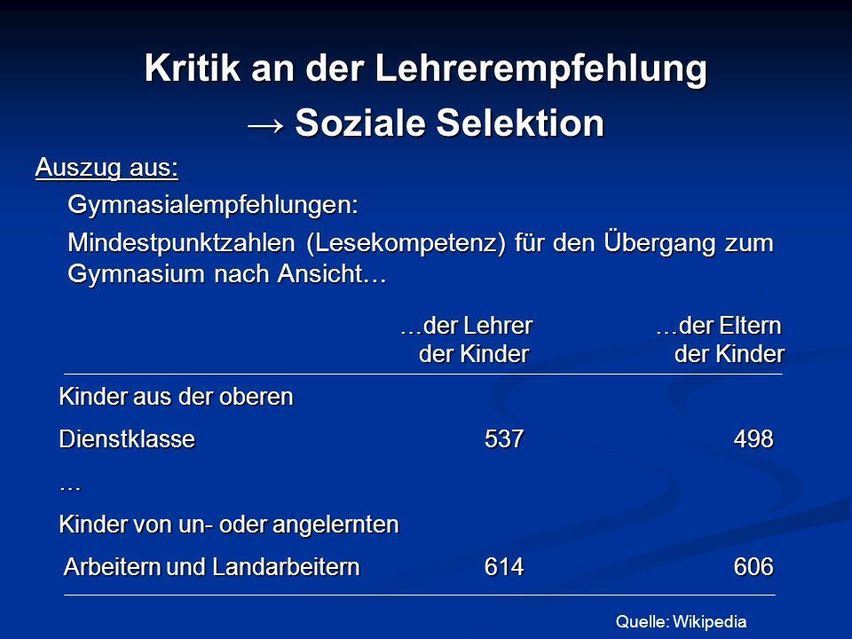Kritik an der Lehrerempfehlung Soziale Selektion Soziale Selektion Auszug aus: Gymnasialempfehlungen: Mindestpunktzahlen (Lesekompetenz) für den Überg