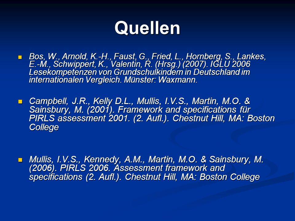 Quellen Bos, W., Arnold, K.-H., Faust, G., Fried, L., Hornberg, S., Lankes, E.-M., Schwippert, K., Valentin, R. (Hrsg.) (2007). IGLU 2006 Lesekompeten