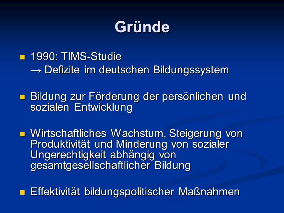 Gründe 1990: TIMS-Studie 1990: TIMS-Studie Defizite im deutschen Bildungssystem Defizite im deutschen Bildungssystem Bildung zur Förderung der persönl