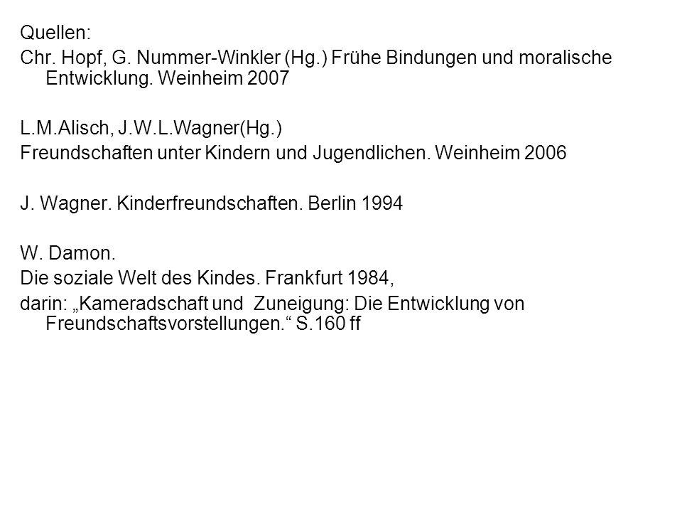 Quellen: Chr. Hopf, G. Nummer-Winkler (Hg.) Frühe Bindungen und moralische Entwicklung. Weinheim 2007 L.M.Alisch, J.W.L.Wagner(Hg.) Freundschaften unt