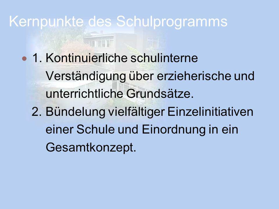 Kernpunkte des Schulprogramms 1. Kontinuierliche schulinterne Verständigung über erzieherische und unterrichtliche Grundsätze. 2. Bündelung vielfältig