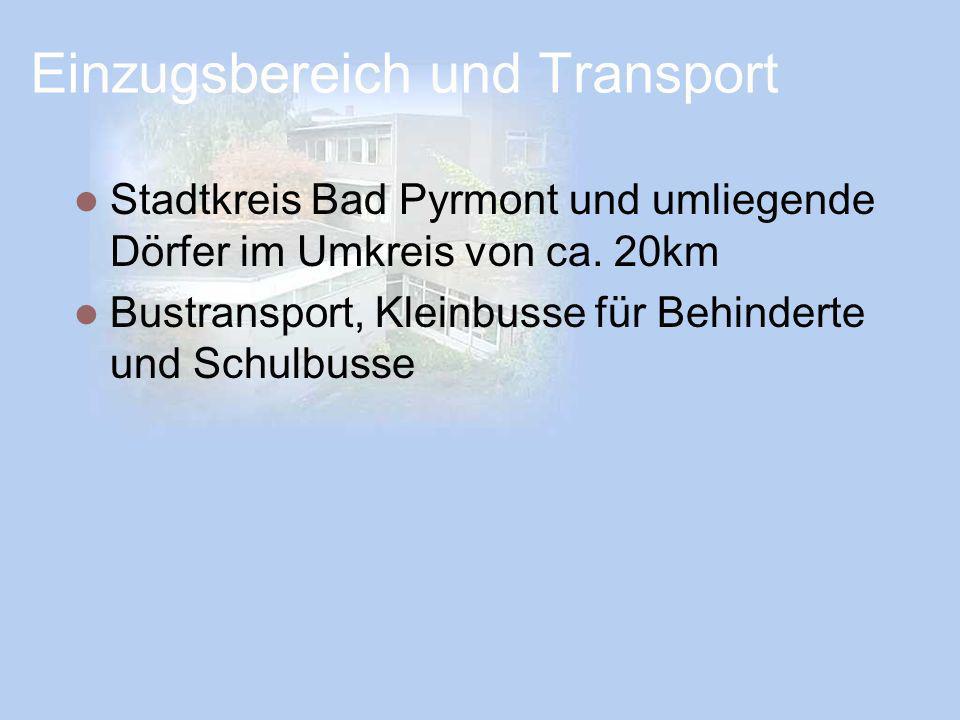 Einzugsbereich und Transport Stadtkreis Bad Pyrmont und umliegende Dörfer im Umkreis von ca. 20km Bustransport, Kleinbusse für Behinderte und Schulbus