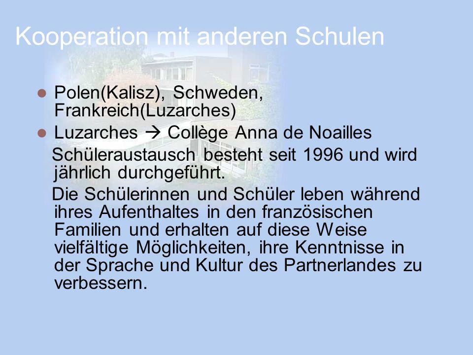 Kooperation mit anderen Schulen Polen(Kalisz), Schweden, Frankreich(Luzarches) Luzarches Collège Anna de Noailles Schüleraustausch besteht seit 1996 u